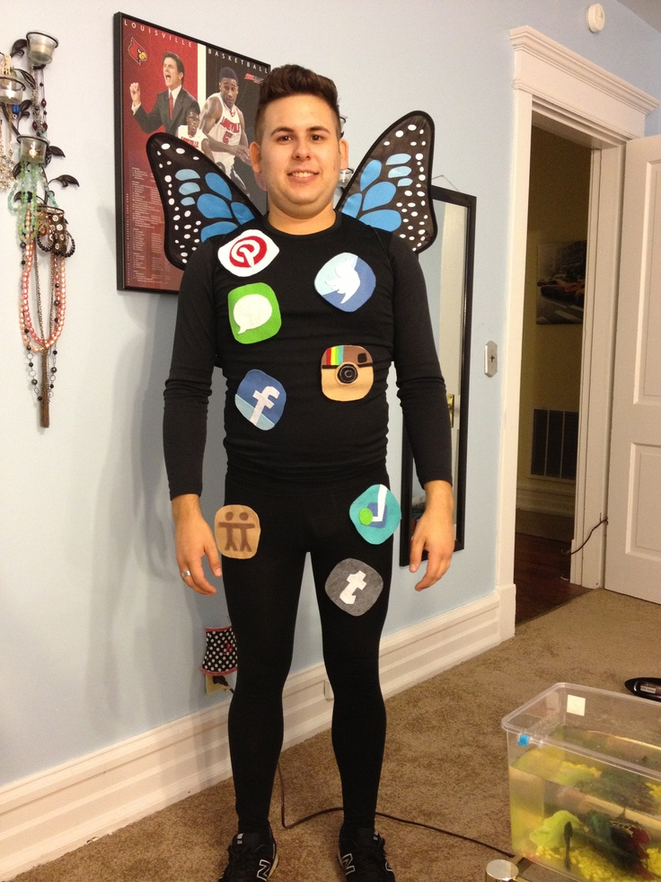 social butterfly easy halloween costume idea cut out felt patches that look like social - Halloween Social Ideas