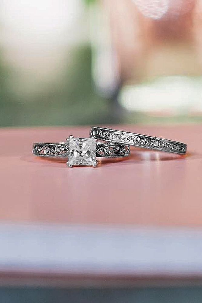 27 Unforgettable Princess Cut Engagement Rings To Get Her Heart ❤ princess cut engagement rings diamond solitaire vintage wedding set ❤ More on the blog: https://ohsoperfectproposal.com/princess-cut-engagement-rings/ #princesscutring
