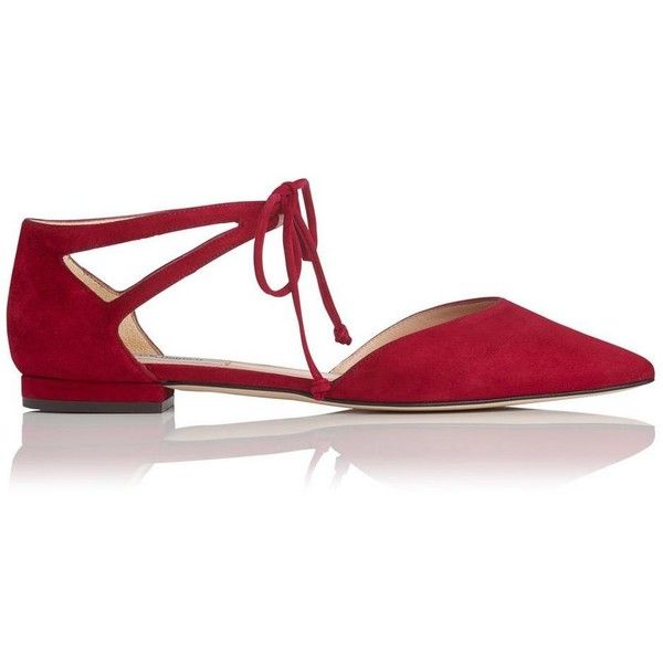Elodie Poppy Suede Flats (740 PEN) ❤ liked on Polyvore featuring shoes, flats, suede leather shoes, pointy-toe flats, pointed toe flats, poppy shoes and suede shoes