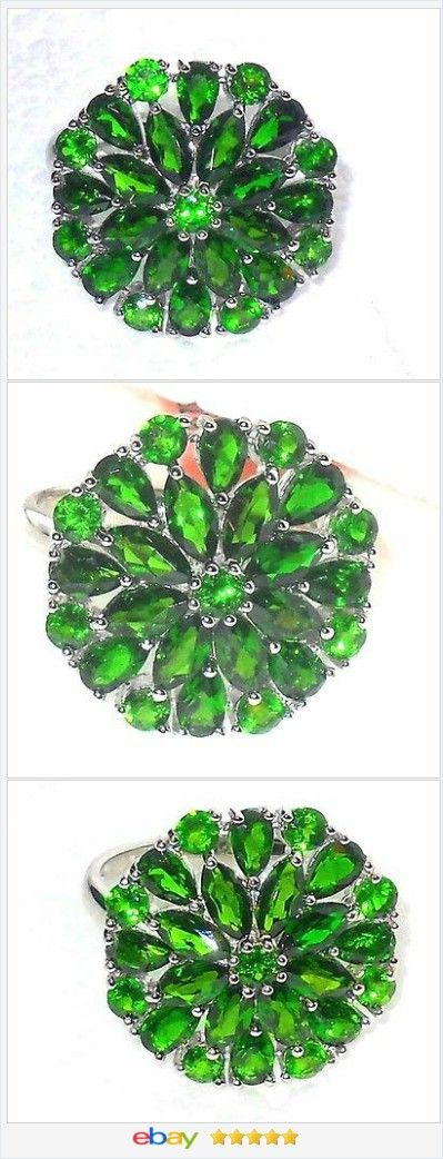50% OFF #ebay http://stores.ebay.com/JEWELRY-AND-GIFTS-BY-ALICE-AND-ANN Russian Chrome Diopside ring 6.00 ctw size 9 Sterling USA Seller