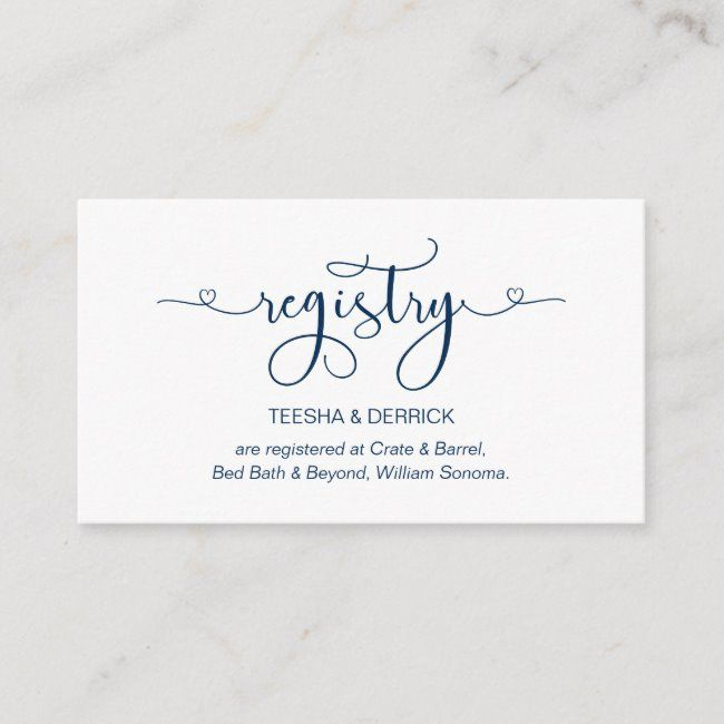 Modern Romantic Navy Blue Font Wedding Registry Enclosure Card Affiliate Font Blue Registry Wed In 2020 Wedding Registry Cards Enclosure Cards Wedding Registry