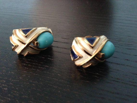 Stunning Turquoise Trifari Earring /50s Earring/  Trifari Crown on Etsy, $30.00