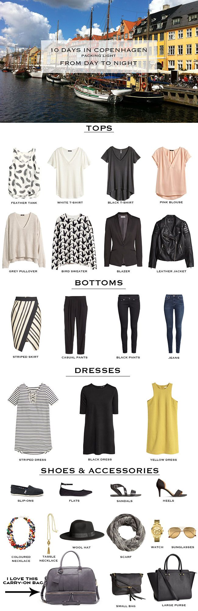 This packing list is a compilation of all of the pieces I used in my last post. In that post you can see a 10 day, and 10 night outfit break down to give you ideas of how a packing list like this might work.