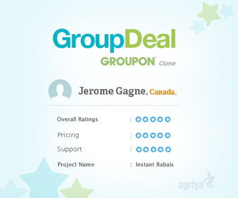 """5 star review for GroupDeal  A word from Jerome Gagne about Agriya's #groupon clone  """"I have more than what I expected.Amazing support. Thank you!""""  For more GroupDeal reviews: http://customers.agriya.com/products/groupdeal/reviews"""