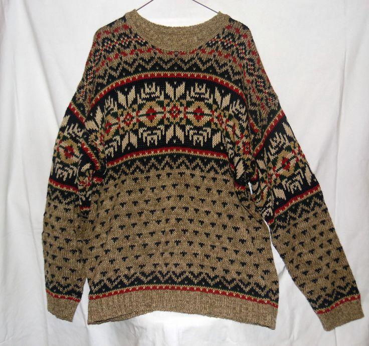 Vintage Abercrombie Men's Crew Neck Fair Isle Sweater Sz L #AbercrombieFitch #Crewneck