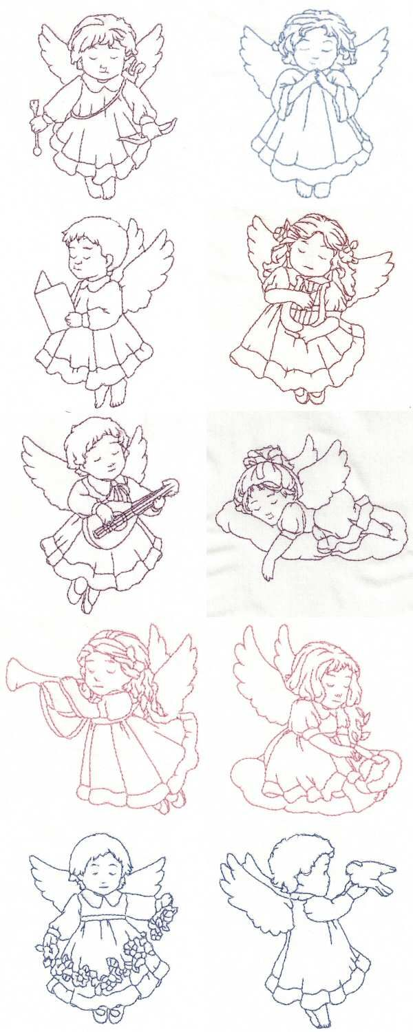 Redwork Child Angels Embroidery Machine Design Details