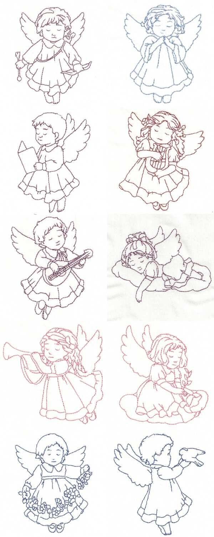 Redwork Child Angels Embroidery Machine Design Details