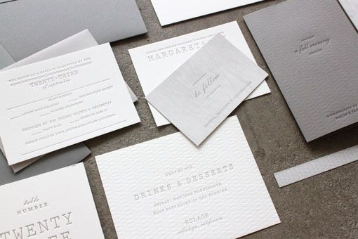 Subtle letter press invites.Understated Letterpresses, Understated Gray, Sideshow Press, Beautiful Paper, Gray White, Wedding Invitations, White Letterpresses, White Weddings, Patricks Understated