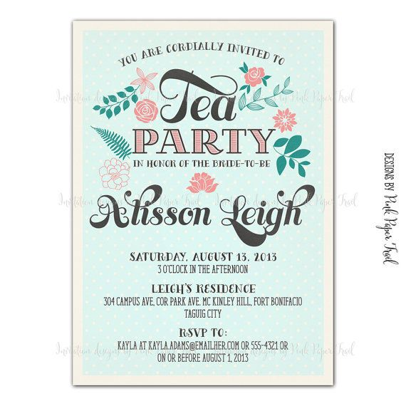 11 best tea parties images on pinterest garden parties postres rustic vintage shabby chic tea party invitation i will customize for you printable stopboris Image collections