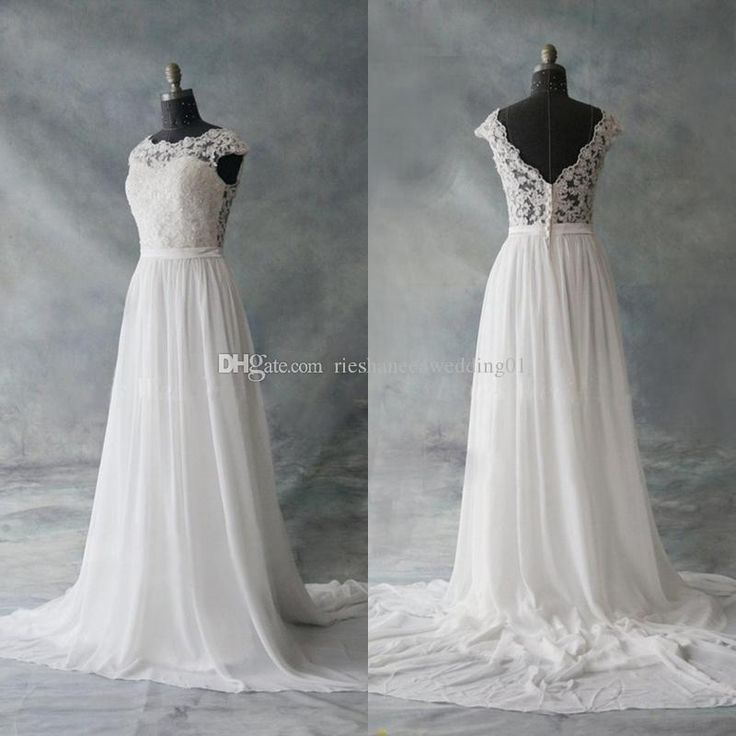 2017 Real Photos Chiffon Wedding Dresses Sheath Illusion Bodice Beach Court Train Capped Apppliques Plus Size Bride Gowns Vestido De Noiva Wedding Gown Rental Cheap Bridal Gowns From Rieshaneeawedding01, $97.99| Dhgate.Com