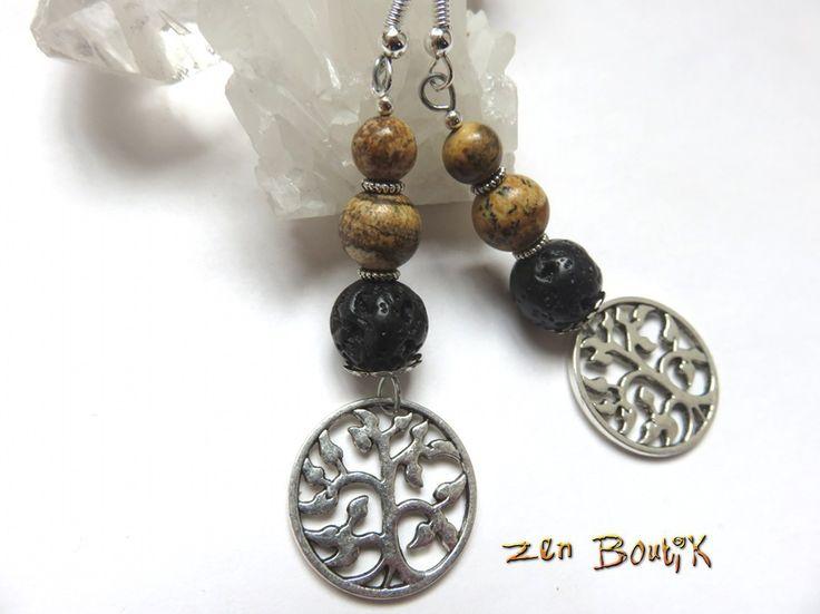 Boucles d'oreilles Zen, Arbre de Vie, Jaspe Paysage, Pierre de Lave, Zen Chic, Bijoux Zen Boutik : Boucles d'oreille par zenboutik