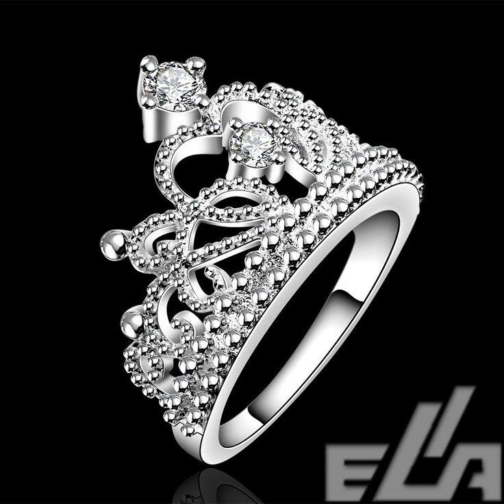 Đồ trang sức thời trang bạc plated trang sức vintage aliancas casamento áo crystal crown nhẫn đối với phụ nữ