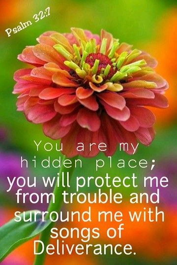 You are my hidden place; you will protect me from trouble and surround me with songs.  ~Psalm 32:7