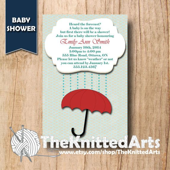 Baby Shower Invitation. 4x6. Red Umbrella. Customized then Print at Home.