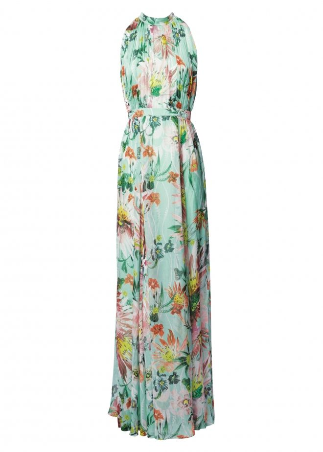 Mint Jungle Bloom Silk Chiffon Gathered Gown - Spring Collection - Matthew Williamson