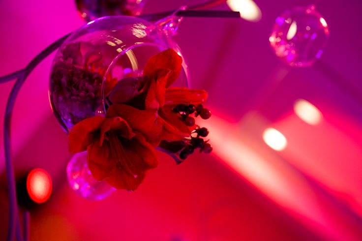 Red bubbles wedding centerpiece by artsize.pl
