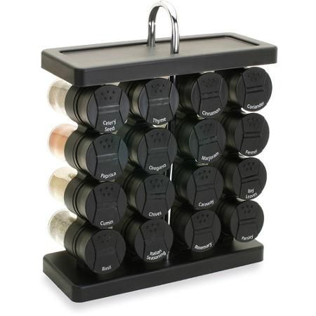 Olde Thompson Black 16-Jar Traditional Spice Rack