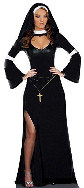 Aimerfeel Damen Nonne Kostum Mit Kleid Und Kopfbedeckung Grosse 36