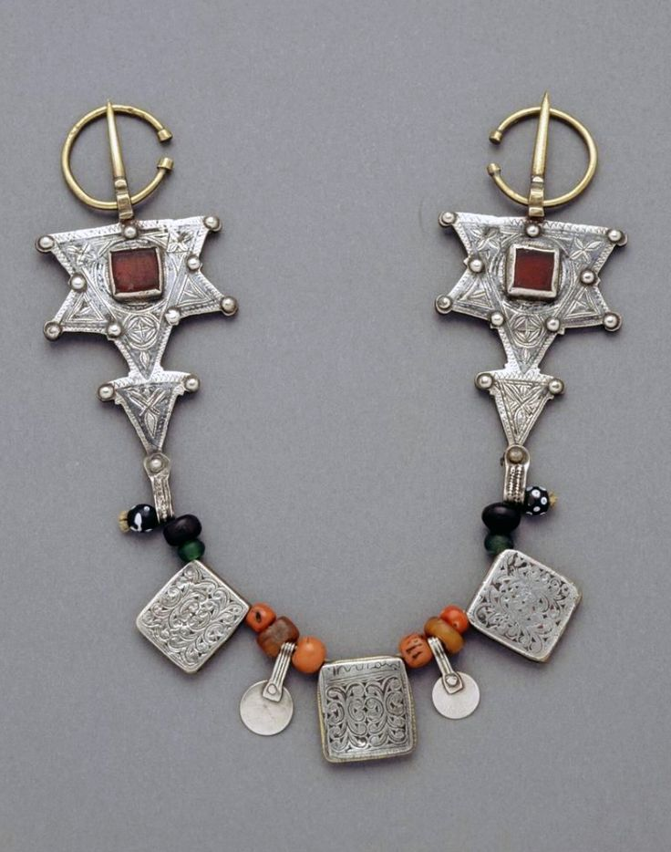 Morocco   Fibula; silver, amber, coral, glass, copper   African Museum (Belgium) Collection; acquired 1989