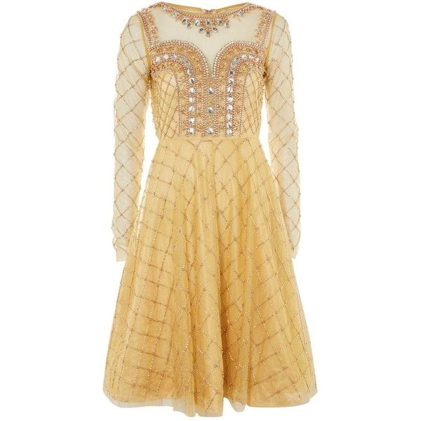 Embellished Dress by Starry Eyed (€45) ❤ liked on Polyvore featuring dresses, gold, beige long sleeve dress, long-sleeve skater dresses, night out dresses, star dresses and party skater dresses