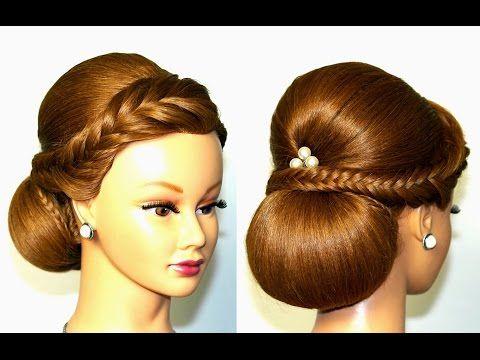 Bridal updo. Hairstyles for medium long hair. Свадебная прическа на длинные и средние волосы. - YouTube