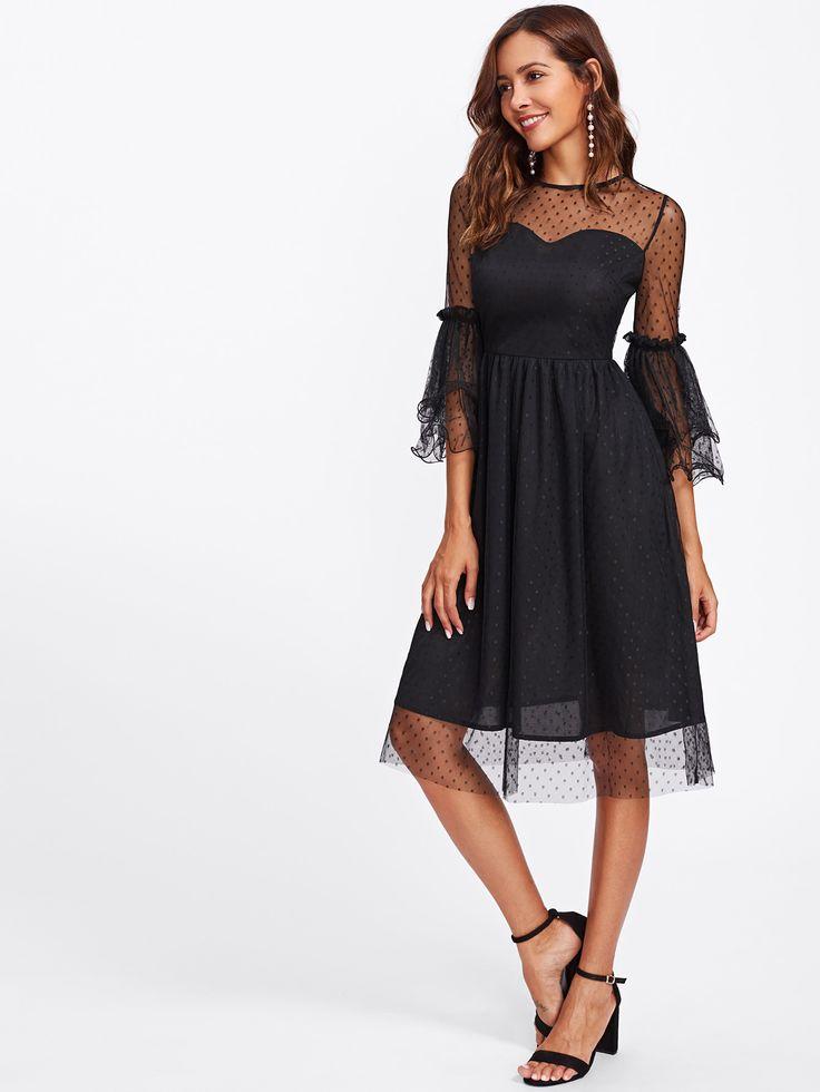 Модное сетчатое платье с оборкой, рукав клёш