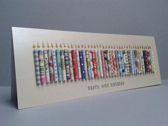 Große 40 Geburtstag Kerze Karte Kann Mit Einem Namen Personalisiert Werden,  Kann 41,42,43,44,45,46,47,48,49 Angepasst Werden