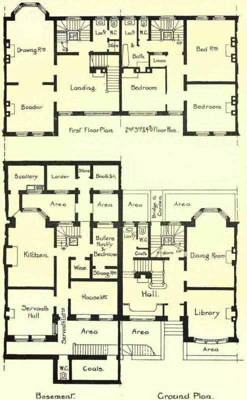 Floor plans of a large townhouse in Charles Street, Berkeley Square, London.