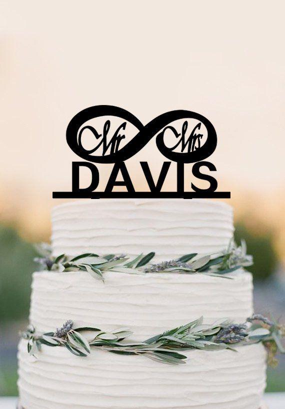 Mr and Mrs Cake Topper, Infinity wedding cake topper,custom wedding ca – DokkiDesign
