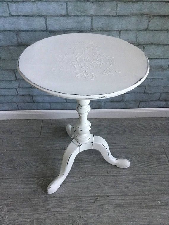 White Round Accent Table  End Table  Side Table  Pedestal