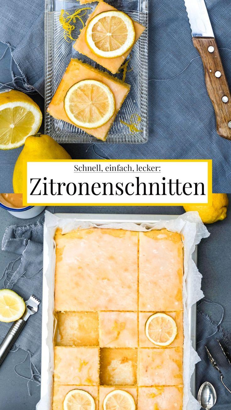 Schnell, einfach, lecker – saftige Zitronenschnitten.