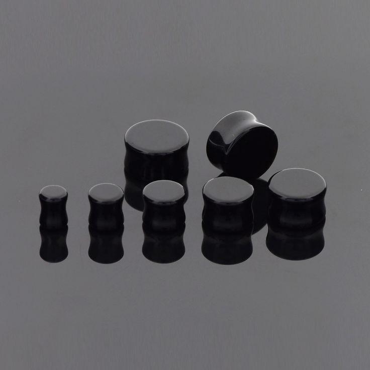 High Quality Ear Expanders Piercing 1 Pair Genuine Black Onyx Organic Natural Polished Stone Ear Gauges Saddle Ear Studs Plug