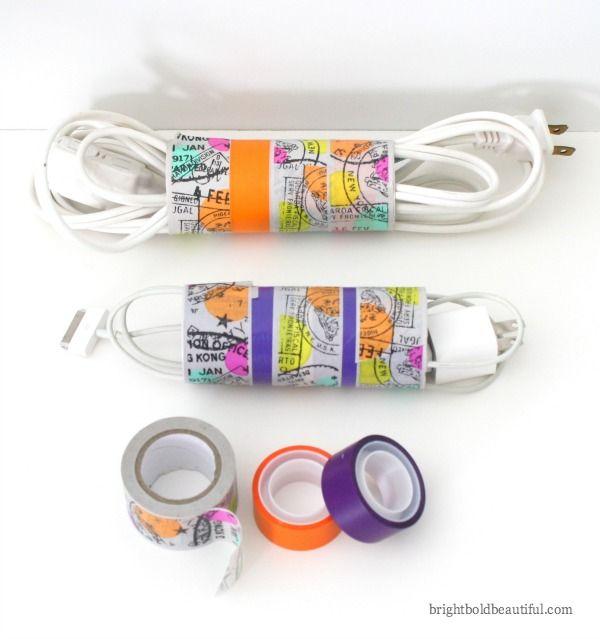 ranger les cables avec des rouleaux vide de papier wc et du masking tape