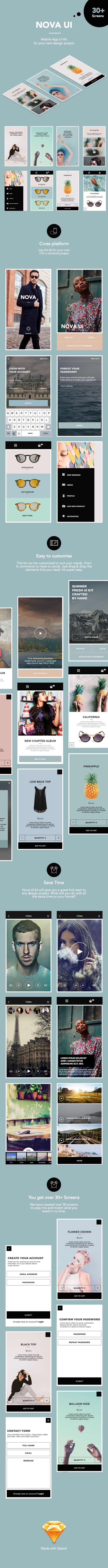 This beautiful Mobile App Ui Kit is perfect for your next design project. It is designed to be cross-platform so use this kit for your next iOS or Android project. This kit can be customised to...
