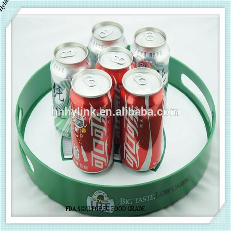 Wholesale round non slip beer serving tray with handle round plastic serving tray barware serving tray