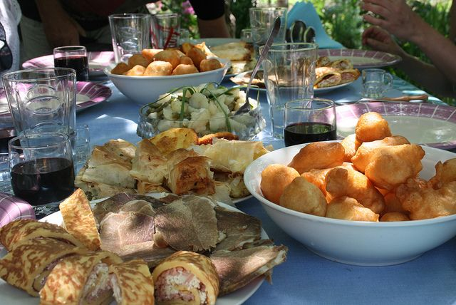 An organic, home produced feast for our guests at a private homestead