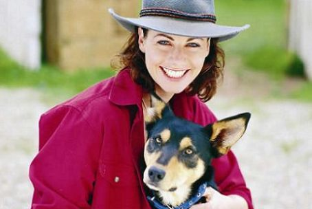 McCloud's Daughters, Claire, portrait, dog, cute, photograph, nice hat, big smile, happy, loving her character