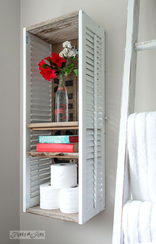 107 best images about decor shutters repurposed on for Funky shelving ideas