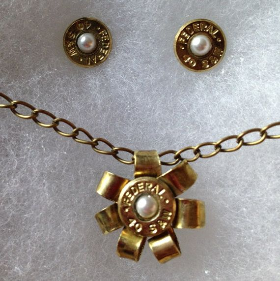 Bullet Ammo Jewelry with pearl stones- LOVE the necklace!
