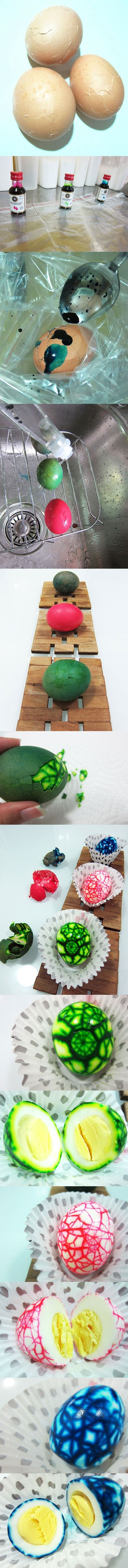 EASTER EGGS... Tie Dyed! I don't like the idea of the dye, but think this would work with dark soy for a nice effect or even saffron, beetroot juice etc.