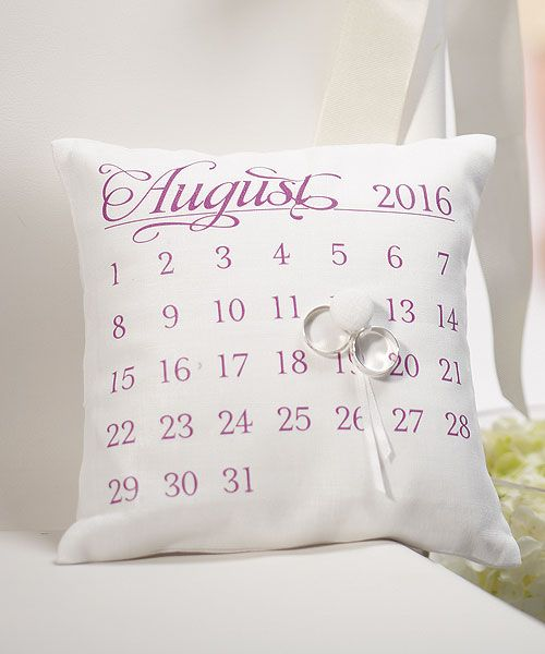 """""""Notable"""" Personalized Ring Pillow with Wedding Date Design"""