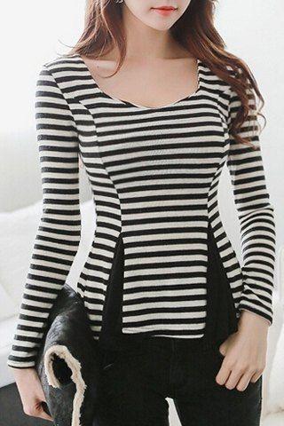Sweetheart Neck Striped Splicing Long Sleeve Blouse - ATL Stylin