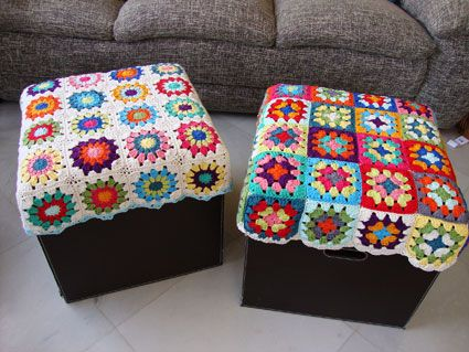 Crochet covers for footstools idea.
