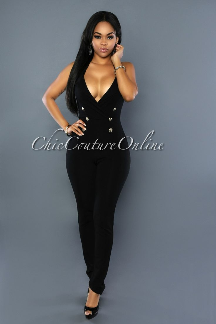 Chic Couture Online - Polly Black Gold Buttons Jumpsuit, (http://www.chiccoutureonline.com/polly-black-gold-buttons-jumpsuit/)