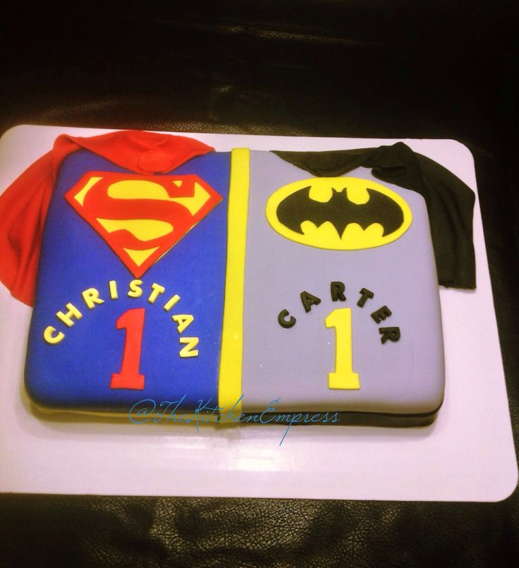 Superman Batman DC Comics cake for twin boys birthday