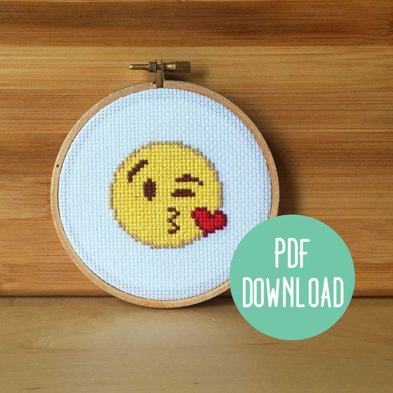 PATTERN: Throw Kiss Emoji Funny Cross Stitch Pattern - Heart Kiss Face Emoji