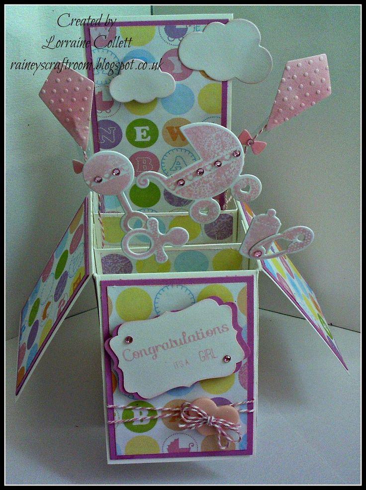 CardInA Box Baby Girl Baby shower card box diy, Baby