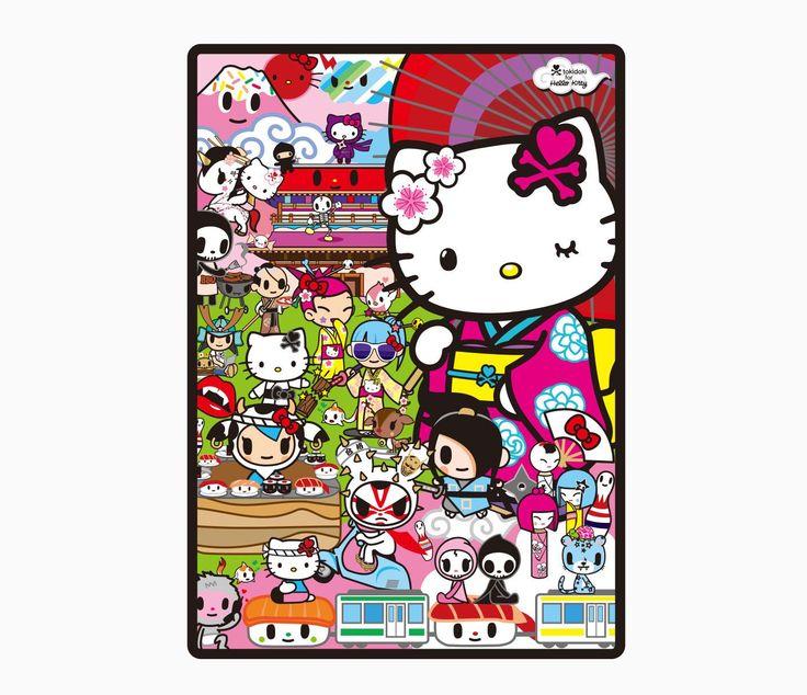 Hello Kitty Tokidoki Blanket: Tokidoki X Hello Kitty Throw Blanket: Kimono