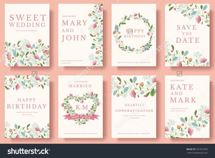 Set Of Flower Invitation Cards. Invite Wedding. Wedding Background. Wedding Illustration. Wedding Invite Flyer. Wedding Invite Poster. Wedding Invite Banner. Wedding Invite Layout Background. - 391031056 : Shutterstock