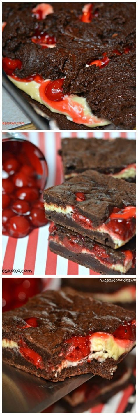 CHERRY CHEESECAKE BROWNIES - easy from scratch recipe.  Just mix up the recipes, layer, and bake in one pan!